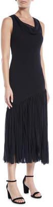 Fuzzi Fringe-Bottom Sleeveless Dress