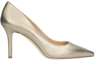 The Seller Pointed Toe Gold Wash Leather Pumps