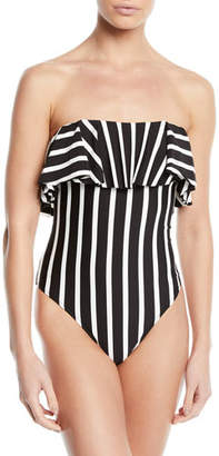 Milly Ruffle-Top Striped One-Piece Bandeau Swimsuit