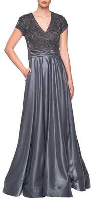La Femme Two-Tone Satin A-Line Gown with Pockets