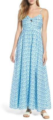 Vineyard Vines Lattice Print Tie Front Maxi Dress