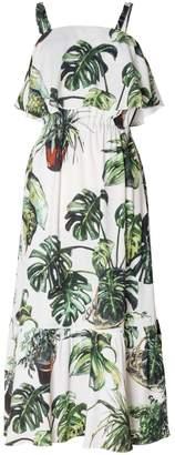 Tomcsanyi - Plants Print Ruffled Dress