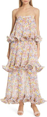 AMUR Dewy Floral Print Tiered Evening Dress