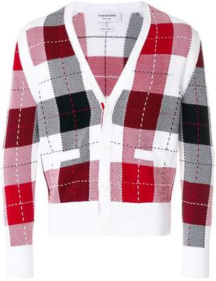 Thom Browne Classic V-neck Cardigan With Large Plaid Intarsia In Cotton Crepe