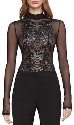 BCBGMAXAZRIA Embellished Sheer Mesh Bodysuit