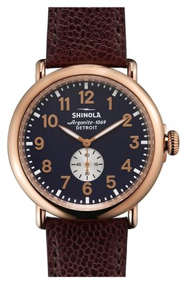 Shinola 'Runwell' Leather Strap Watch, 47Mm $600 thestylecure.com