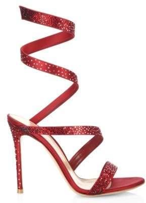 Gianvito Rossi Opera Crystal & Satin Ankle-Wrap Birthday Sandals