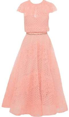 Marchesa Layered Bead-Embellished Appliquéd Tulle Maxi Dress