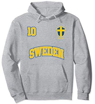 Sweden Team Hoodie No. 10 Sports Swedish Flag Soccer Shirt