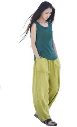 Helisopus Women's Casual Wide Leg Pants Loose Plus Size Elastic Waist Linen Trousers