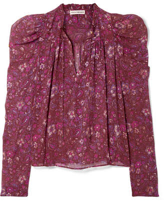 Ulla Johnson Renly Printed Silk-chiffon Blouse - Purple