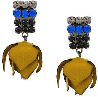 Marni fabric flower clip-on earrings