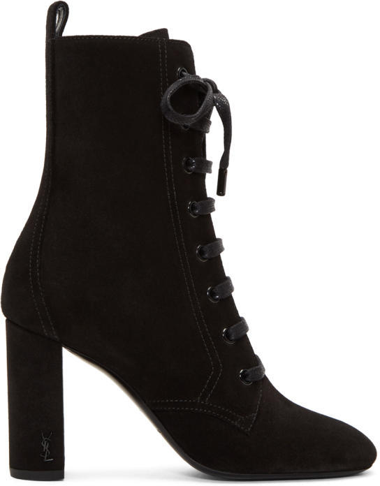 Saint Laurent Black Suede LouLou Lace-Up Boots