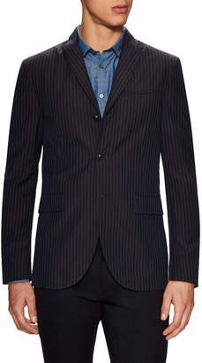 John Varvatos Linen Convertible Peak Lapel Cut Away Sportcoat