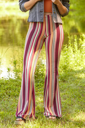 Juniper Blu Fall Striped Fit & Flare Pant Multi XS