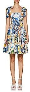 Dolce & Gabbana Women's Majolica-Tile-Print Cotton Poplin Dress