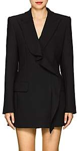 Area Women's Flora Ruffled Stretch-Twill Double-Breasted Blazer - Black