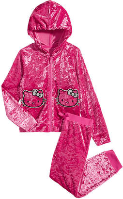 Hello Kitty Little Girls 2-Pc. Crushed-Velvet Hoodie & Pants Set