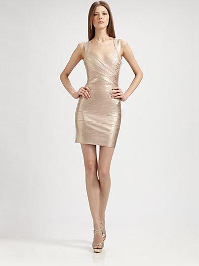 Herve Leger Rose Gold Bandage Dress