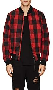 NSF Men's Checked Cotton Flannel Bomber Jacket - Red