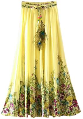 Encontrar Women Floral Printed Pleated Bohemian Beach Skirts Chiffon Long Dresses