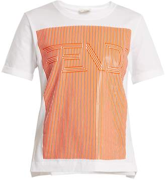 Fendi Striped logo-print cotton-jersey T-shirt