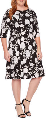 Studio 1 3/4 Sleeve Floral Fit & Flare Dress-Plus