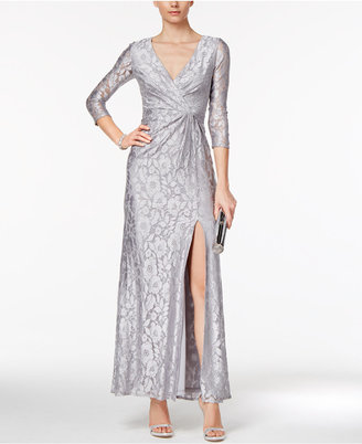 Adrianna Papell Sequined Lace Faux-Wrap Gown $279 thestylecure.com