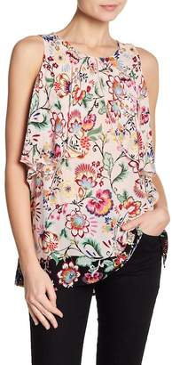 Democracy Ruffle Popover Floral Blouse