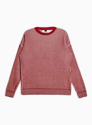 Topman Mens Red Rust And White Plaited Jumper