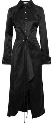 Thierry Mugler Asymmetric Tie-front Silk-satin Midi Shirt Dress