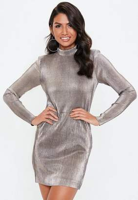 Missguided Metallic High Neck Pleated Bodycon Dress