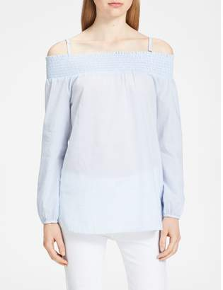 Calvin Klein pinstripe off-shoulder long sleeve top