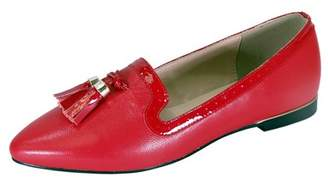 Peerage PEERAGE Brenna Women Wide Width Comfort Leather Dress Flat with Patent Leather Tassel and Trim RED 8.5