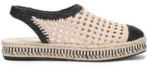Tory Burch Two-Tone Woven Leather Slingback Espadrilles
