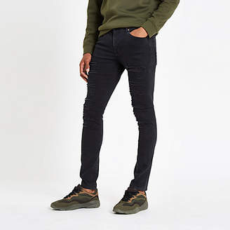 River Island Black Danny ripped super skinny jeans