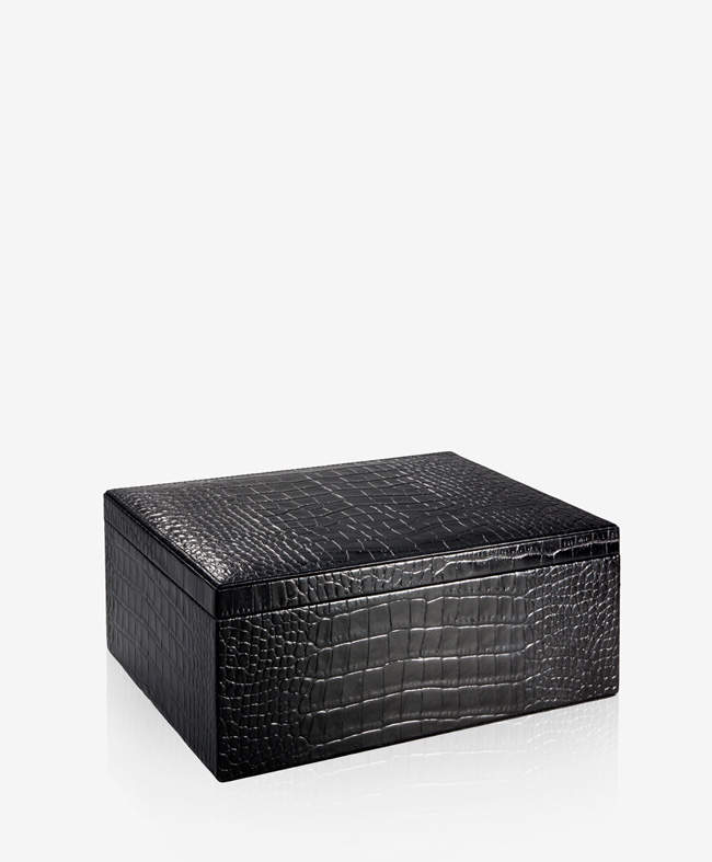 Large Box Black Crocodile Embossed Leather