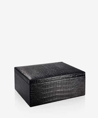GiGi New York Large Box Black Crocodile Embossed Leather