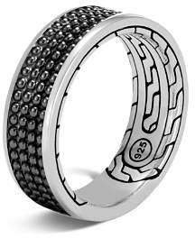 John Hardy Sterling Silver Classic Chain Black Rhodium Jawan Band Ring