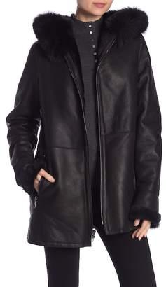 Blue Duck Genuine Sheepskin Fur Trim Hooded Zipper Jacket