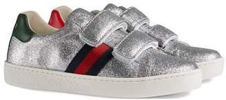 Gucci Kids Children's glitter sneaker with Web