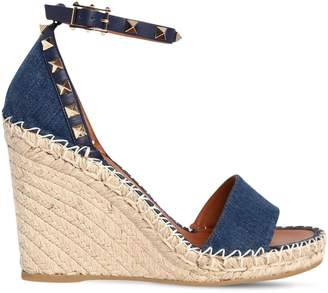Valentino 105mm Rockstud Double Denim Wedges