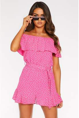 Quiz Sam Faiers Pink and White Polka Dot Bardot Playsuit