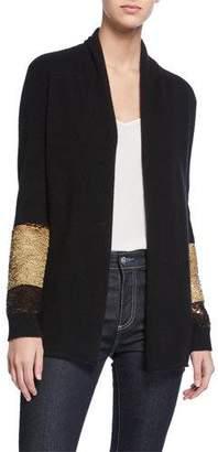 Neiman Marcus Two-Way Sequin-Sleeve Cashmere Cardigan