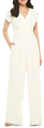Gal Meets Glam Delaney Crossover Wrap Bodice Jumpsuit