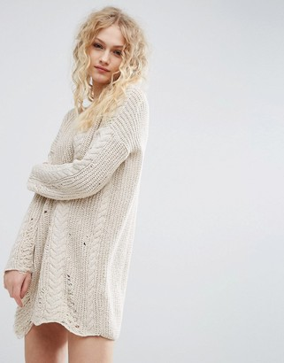ASOS Sweater Dress In Cable And Ladder Stitch $49 thestylecure.com