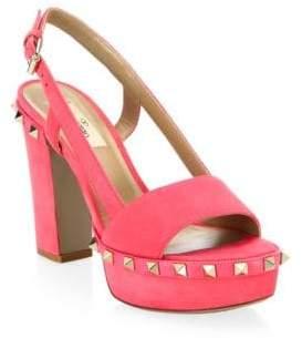 Valentino Rockstud Leather Slingback Sandals