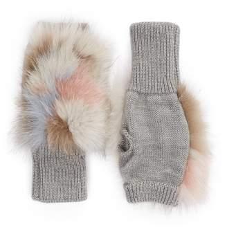 Jocelyn Insomniac Genuine Fox Fur Open Top Mittens