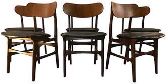 One Kings Lane Vintage Danish Teak Round Back Dining Chairs,Set of 6 - 2-b-Modern