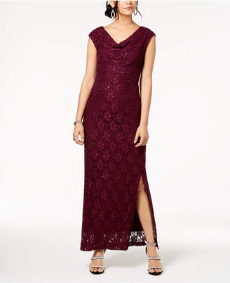 Connected Sequined Lace Cowl-Neck Gown